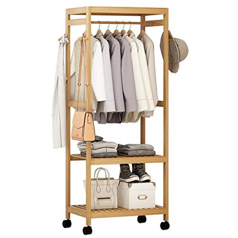 Dika UK Coat Racks Free Standing Wooden Clothing Garment Rack Coat Organizer Storage Shelving Unit Entryway Storage Shelf 2-Tier for The Storage of Shoes and Clothes Wooden Product(Wood Color)