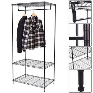 Hanger Shelving Wire Shelf Dress Wardrobe Portable 3-Tier Clothing Garment Rack-Cretamarket