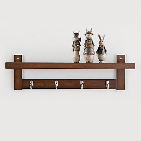 Coat Rack Bamboo Wall Mount Shelf Coat Hook Rack Unibody Construction with Alloy Hooks for Hallway Bedroom,Kitchen,Bathroom and Home Decoration,Brown,4Hook