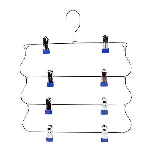 Drying clothes rack Multi-layer, multi-function hanger/foldable, storage, pants rack, underwear rack, sock frame, skirt rack (Color : Blue)