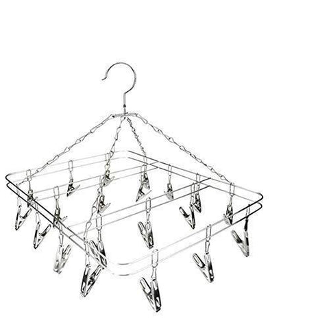 Mesheshe 20 Clips Sock Underwear Clothes Outdoor Airer Dryer Laundry Hanger Stainless Steel Square Wire Clip Clothes Rack Sock Dryer Rack