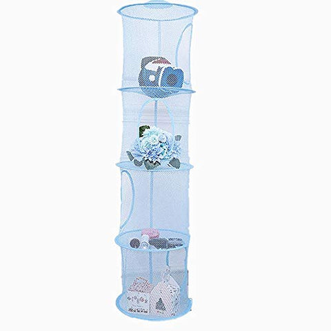 "Leoyoubei 43 1/2"" Hanging Mesh Storage Basket,4 Compartments/Folding Basket/Wall Hanging Small Plush Toy Storage Baby Clothes Hangers Hang Bag Attaches Easily to Any Rod (Blue)"