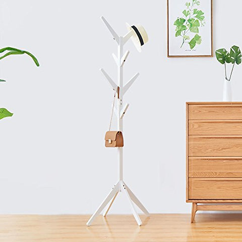 LFF-Coat Rack LFF- Simple Modern European Style Four Corner Base Assembly Solid Wood Hangers Landing Simple Clothes Shelf Home Bedroom 4545175cm (Color : White)