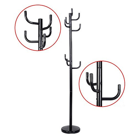 Hooks Coat Rack clothes Hat Shoes Umbrella Purse Holder Hanger Hall Stand Tree Black Metal New