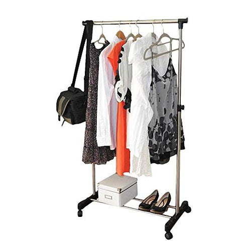 HOBBYN Clothing Rolling Rack,Single-bar Vertical & Horizontal Stretching Stand Clothes Rack with Shoe Shelf