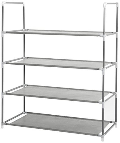 Compactor Home Storage Four Shelve Shoes Rack With Metal Structure Outer Cover, Grey/Beige by Compactor Home Storage