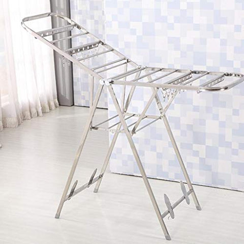 LE Wing Shape Drying Rack,Floor Stand Folding Stainless Steel Balcony Drying Rack Indoor Hanger Easy Diaper Rack A