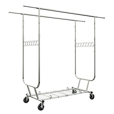 LANGRIA Heavy Duty Rolling Commercial Double Rail Clothing Garment Rack with Wheels Expandable Rods Collapsible Clothes Rack Max Load Capacity 287 lbs. for Bedroom Dressing Room Store (Chrome)
