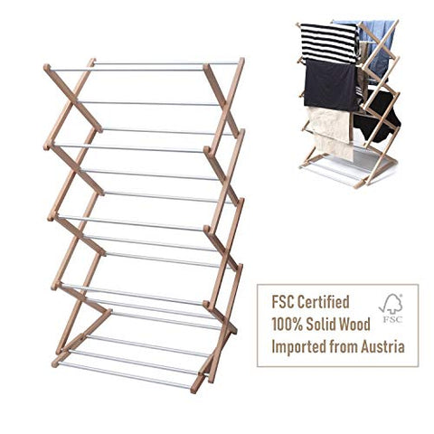 INNOKA 4-Tier Wooden Aluminum Stackable Foldable Clothes Laundry Drying Rack w/ Sturdy Base for Indoor/Outdoor - Home Essentials in Smart Adjustable Design, Perfect For Living Room, Balcony, Basement
