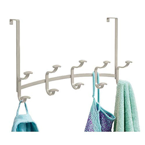 "iDesign Spa Metal 5-Hook Over-the-Door or Wall Mount Rack for Coats, Hats, Scarves, Towels, Robes, Jackets, Purses, 17.25"" x 5"" x 10.75"", Satin Silver"