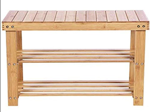 BEWISHOME Bamboo Shoe Bench Rack,2 Tier Shoe Shelf,Storage Organizing Rack Stand,Entryway Hallway Seat,Shoe Rack for Foyer,Kitchen,Living Room,Bathroom KXD01Y