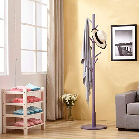 LE Bamboo Wooden Clothes Rack,Coat Rack Bedroom Hanger Nordic Simple Modern Creative Single Rod Hanger I