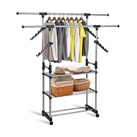 Dporticus Double Rods Rolling Rack Heavy Duty Commercial Grade Clothes Rack Extendable Double Rail Garment Clothing Rack with 3 Shelves