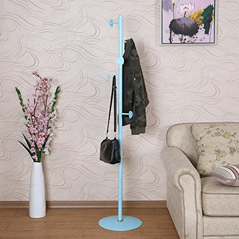LXLA- Simple Iron Coat Rack Floor-standing Hangers Shelf Clothes Landing Fashion Continental Living Room Bedroom Entrance Hall 169×36cm (Color : Blue)