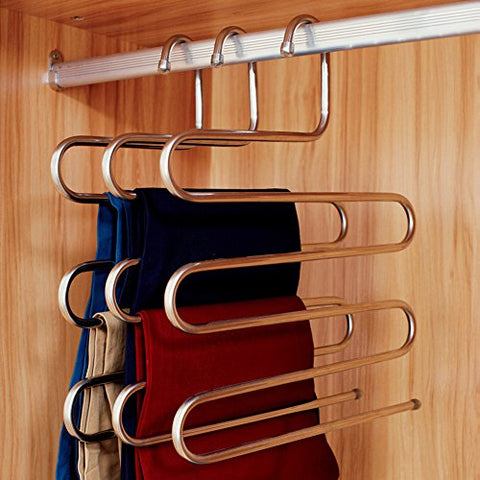 Foder S-type Stainless Steel Pants Hangers Space Saving Closet Clothes Storage Organizer for Pants Jeans Scarf Hanging