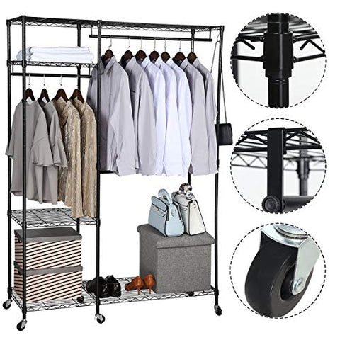BRIAN & DANY Free-Standing Closet Garment Rack, Heavy Duty Clothes Wardrobe, Rolling Clothes Rack,Closet Storage Organizer with Hanger Bar,Contains 10 s Hooks,Black
