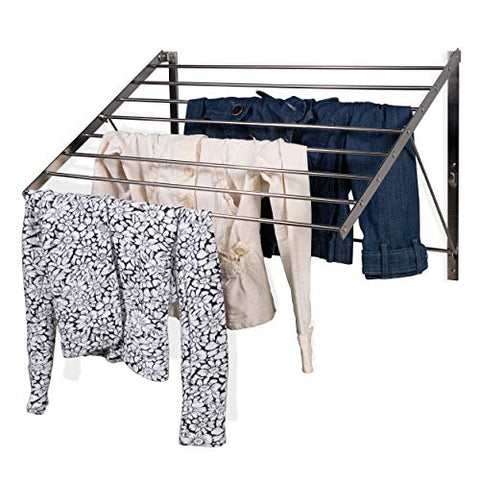 brightmaison Clothes Laundry Drying Rack Heavy Duty Stainless Steel Wall Mounted Folding Adjustable Collapsible Space Saver 6.5 Yards Drying Capacity