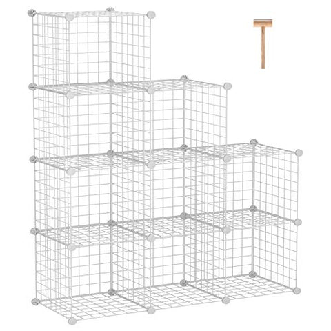 "C&AHOME Metal Wire Cube Storage, 9-Cube Storage Organizer, Stackable Storage Bins, Modular Bookcase, DIY Closet Cabinet Ideal for Living Room Bedroom, Home, Office 36.6""L x 12.4""W x 48.4""H White"