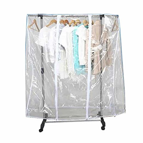 "59"" L Clear Transparent Clothing Rack Cover Dustproof Garment Shoulder Rack Covers Home Bedroom Clothing Dustproof Waterproof Protector with Durable Zipper and Roomy Pocket (M:59x20x52 inch)"