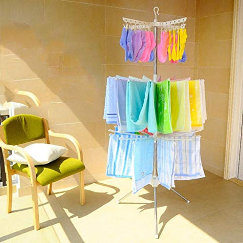 LE Baby Folding Sweater Drying Rack,Home Kids Clothes Hanger Floor Multilayer Newborn Diaper Shelf Foldable Baby Hanger B