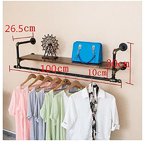 Coat Rack Clothing Store Display Rack Wall Combination Pipe Hanger Children's Clothing Women's Clothing Store Shelves Retro Shop Shelf Wall-Mounted Coat Rack (Size : 10026.5cm)