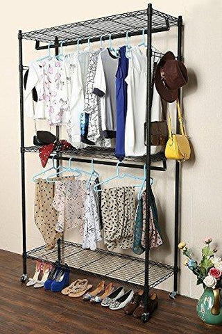 Hindom Free-Standing Closet Garment Rack with Wheels and Side Hooks, 3-Tiers Large Size Heavy Duty Rolling Clothes Rack Closet Storage Organizer (US Stock)