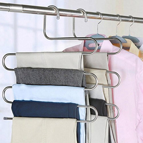 devesanter Pants Hangers S-Shape Trousers Hangers Stainless Steel Clothes Hangers Closet Space Saving Organizer for Pants Jeans Scarf Hanging Silver (2 Pack)