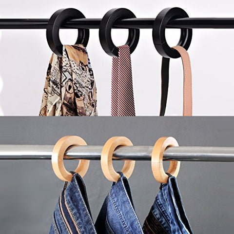 High-Grade Solid Wooden Pants Hangers, Unique Ring Design, Jeans Hanger, Shorts Hanger, Silk Scarves Hangers, Scarf Hanger, Tie Hanger, Bag Hanger with Magnet, 3-Pack. (Natural)
