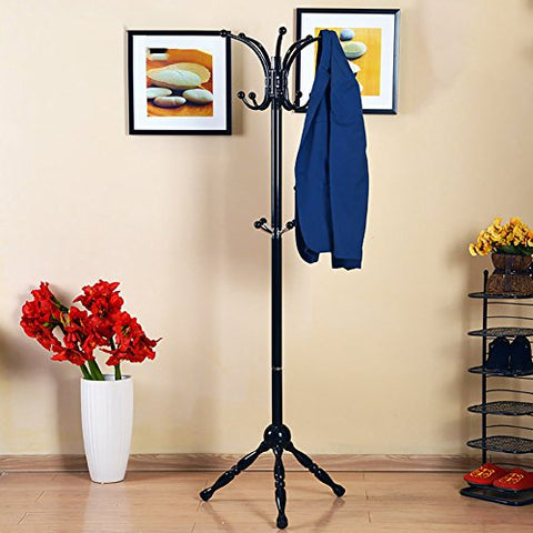 LXLA- Iron Coat Rack Floor-standing Hanger Bedroom Simple Clothes Shelf Indoor Hanging Hook Up Fashion Metal Landing Foyer 175×46cm (Color : Black)