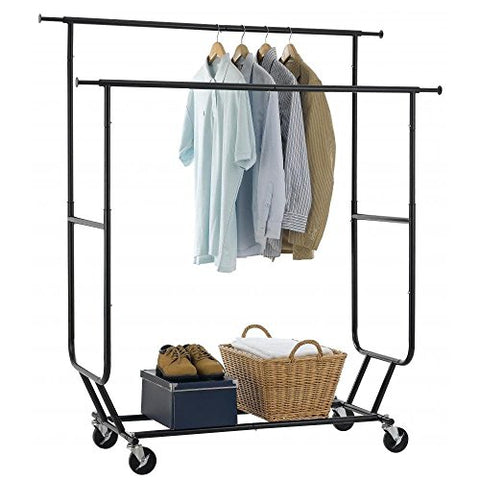Cirocco Double Rail Rolling Clothing Rack Black – Commercial Garment Hanger Bar Holder | Collapsible Space Saving Sturdy Heavy Duty Steel | For Indoor Outdoor Clothes Undergarment Pants Shirt Laundry