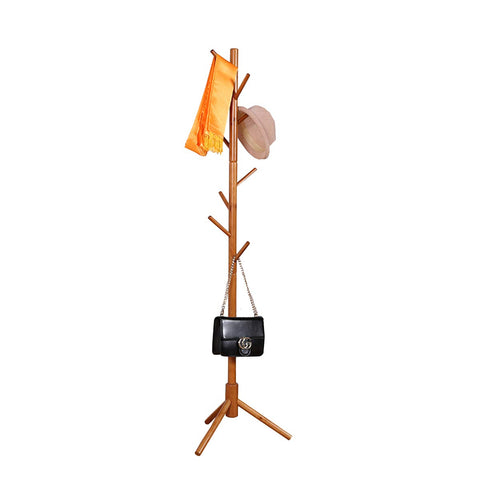 Garwarm 8-Hooks Creative Simplicity Solid Wood Floor Finish Entryway Standing Coat Rack Hall Tree Hat Hanger Holder with Tripod Base for Jacket Clothes Scarves Purse