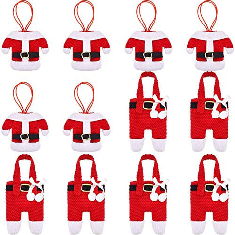 Alapaste 12Pcs Christmas Silverware Holder Pockets Christmas Table Decorations Santa Suit Pants Dinner Knife Fork Flatware Bags Xmas Party Decor