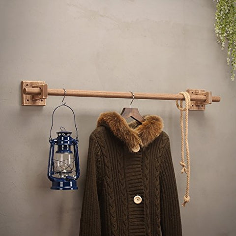 Coat Rack Clothing Store Display Rack Wall-Mounted Coat Rack Solid Wood Wall Hanging Clothes Rack Men and Women Clothing Single Pole Coat Rack (Size : 120cm)