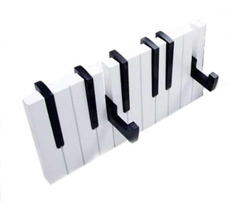7 Hook Piano keys wall mounted Coat hook hanger wall decoration Hat Storage Rack Wood Shelf Hanger (Black)