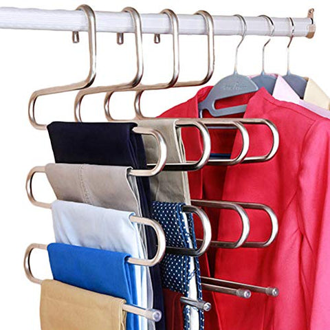 CmfwaMedsr S-Type Stainless Trousers Hanger,5 Layers Multipurpose Magic Space Saver Closet Storage for Towel Scarf Ties Belts Jeans-A 3 Pack