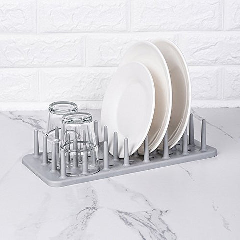 Gotian Kitchen Dish Rack Dish Plate Pot Lid Cover Drying Drain Holder Plastic Storage Rack Shelf (Gray)