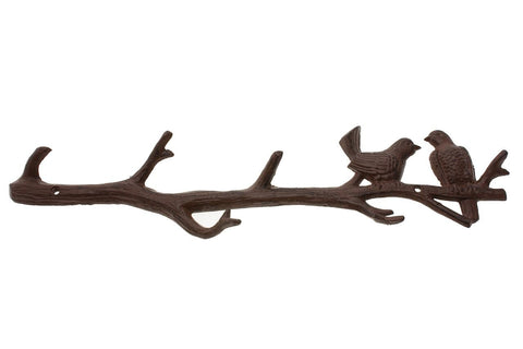 "Cast Iron Birds On Branch Hanger With 6 Hooks | Decorative Cast Iron Wall Hook Rack | For Coats, Hats, Keys, Towels, Clothes | 18.5x2x4.5"" - with Screws and Anchors By Comfify (Antique White)"
