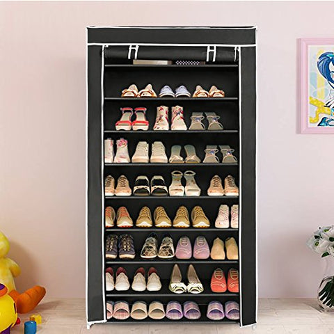 Blissun 10 Tiers Shoe Rack Shoe Storage Organizer Cabinet Tower with Non-Woven Fabric Cover (Black)