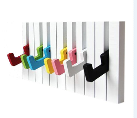 7 Hook Piano keys wall mounted Coat hook hanger wall decoration Hat Storage Rack Wood Shelf Hanger (Colorful)