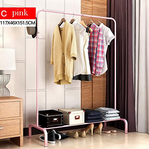 LXLA- Household Coat Rack Modern Simple Coat Rack Floor Hanger Bedroom Steel Hanger Clothes Stand (Color : Pink)