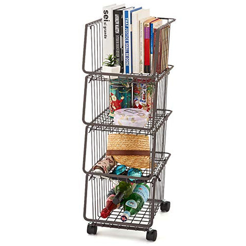 EZOWare 4-Tier Metal Utility Rack Shelves, Stackable Baskets Organizer Bins Rolling Metal Cart for Kitchen Pantry Office Garage