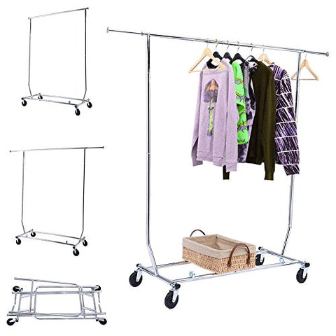 Clothing Store Display Shelf Hanger Horizontal Bar Scalable Folding Movable Telescopic Clothes Rack (ship from US)