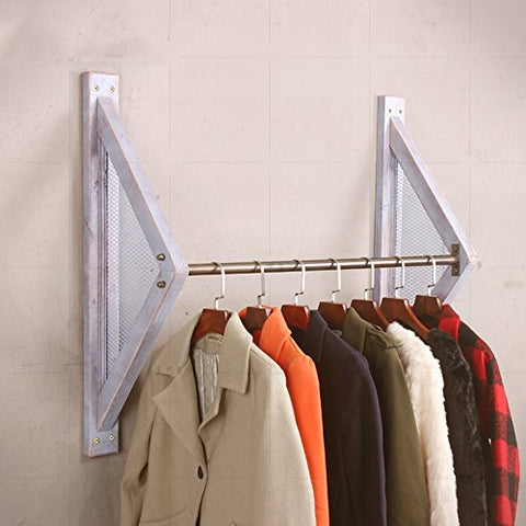COAT RACK ZHIRONG Solid Wood + Iron Retro Hanger Clothing Store Display Stand Side Hanging Wall Hanging Wall Decoration Display Shelf (Color : Milky white, Size : 100cm)