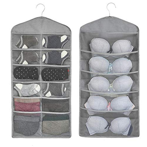 ALYER Dual-Sided Hanging Closet Mesh Pockets, Large Bra Stocking Clothes Socks Organizer(Gray)