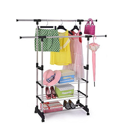 AK Energy 3-Tier Clothing Cloth Dry Double Rack Hanger Shelving Wire Shelf Rolling Stainless Steel