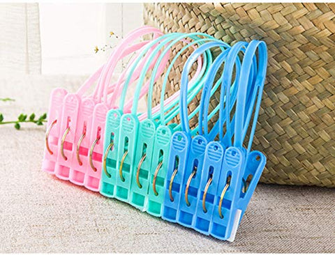DurReus 24 Pack Plastic Clothespins Rope Windproof Clothes Hanger Clips Anti-Slip Laundry Pins Drying Clothing Clamps with Sturdy Steel Spring