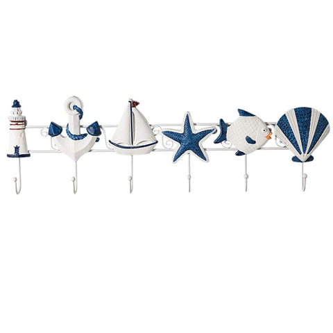 B Blesiya Nautical Seashell Lighthouse Seagull Towel Coat Wall Hook Hanger Keys Holder Hanger Multi Uses - B, 56.5 x 4 x 18cm