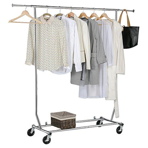 Gotobuy Chrome Commercial Clothing Garment Rolling Collapsible Rack Hanger 250lbs Load Capacity