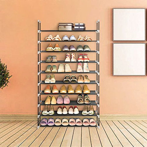 Blissun Shoe Racks Space Saving Non-Woven Fabric Shoe Storage Organizer Cabinet Tower (Black)
