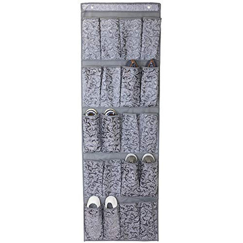 Home Basics Grey Damask Collection Non-Woven Storage and Organization (20 Pocket Over The Door Shoe Holder)